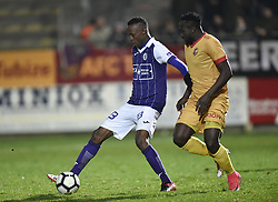 January 10, 2018 - Tubize, BELGIUM - Beerschot's Fessou Placca and Tubize's Simon Zenke fight for the ball during a soccer game between AFC Tubize and Beerschot-Wilrijk, in Tubize, Wednesday 10 January 2018, on day 19 of the division 1B Proximus League competition of the Belgian soccer championship. The game was postponed because of bad weather conditions on December 10th. BELGA PHOTO JOHN THYS (Credit Image: © John Thys/Belga via ZUMA Press)