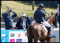 August 5, 2017 - United Kingdom - Image licensed to i-Images Picture Agency. 05/08/2017. Gatcombe Park, United Kingdom. Mike Tindall and Princess Anne talking to Zara Tindall before she competes in the show jumping event on the second day of the Festival of British Eventing at Gatcombe Park, United Kingdom.  Picture by Stephen Lock / i-Images (Credit Image: © Stephen Lock/i-Images via ZUMA Press)