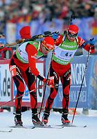 Skiskyting<br /> IBU World Cup<br /> Oberhof Tyskland<br /> 07.01.2010<br /> Foto: imago/Digitalsport<br /> NORWAY ONLY<br /> <br /> IBU World Cup Biathlon Staffel - Männer / 4 x 7.5 km Wechsel Norwegen von Emil Hegle SVENDSEN links auf Ole Einar BJØRNDALEN