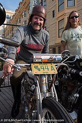 Harley-Davidson Museum Archive Restorer/Conservator Bill Rodencal (L) of Wisconsin on his 1915 Harley-Davidson next to Doug Wothke of Alabama riding his 1916 Indian on the Atlantic City boardwalk at the start of the Motorcycle Cannonball Race of the Century. Stage-1 from Atlantic City, NJ to York, PA. USA. Saturday September 10, 2016. Photography ©2016 Michael Lichter.