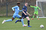 Leeds United defender Jamie Thornton closes down during the U18 Professional Development League match between Coventry City and Leeds United at Alan Higgins Centre, Coventry, United Kingdom on 13 April 2019.
