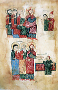 Jesus curing the man possessed of a devil (top). Raising of Lazarus, brother of Martha and Mary, after four days (bottom). After Armenian Evangelistery (1394). Calligraphy and painting by Rotakes.