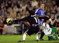Photo: Back Page Images<br />Racing Santander v Real Madrid, La Liga, Santander 18/12/04<br />Michael Owen header finds it's way into the net to make it 1-1. Real went on to win 3-2