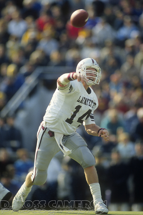 Lafayette quarterback Frank Baur looses a pass against Army during an NCAA football game, Saturday, Oct. 21, 1989 at Michie Stadium in West Point, N.Y. Army won, 34-20. (D. Ross Cameron/The Express)