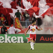 Felipe Martins, New York Red Bulls, celebrates after scoring the first of his two spectacular goals in New York Red Bulls 4-3 win during the New York Red Bulls Vs Houston Dynamo, Major League Soccer regular season match at Red Bull Arena, Harrison, New Jersey. USA. 19th March 2016. Photo Tim Clayton