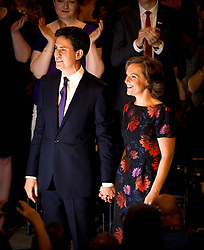 © London News Pictures. 24/09/2013 . Brighton, UK.  ED Labour party leader ED MILIBAND and wife JUSTINE THORNTON  on stage after ED MILIBAND delivered his Key-note speech on the third day of the Labour Party Conference in Brighton. Photo credit : Ben Cawthra/LNP