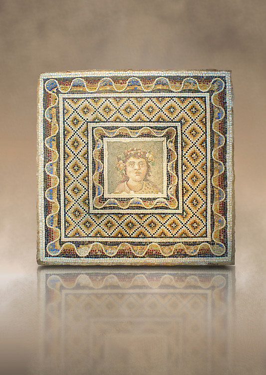 Roman mosaic of a bust of Dionysus from the Via Flaminia, Rome. 3rd century AD. National Roman Museum, Rome, Italy .<br /> <br /> If you prefer to buy from our ALAMY PHOTO LIBRARY  Collection visit : https://www.alamy.com/portfolio/paul-williams-funkystock/national-roman-museum-rome-mosaic.html <br /> <br /> Visit our ROMAN ART & HISTORIC SITES PHOTO COLLECTIONS for more photos to download or buy as wall art prints https://funkystock.photoshelter.com/gallery-collection/The-Romans-Art-Artefacts-Antiquities-Historic-Sites-Pictures-Images/C0000r2uLJJo9_s0