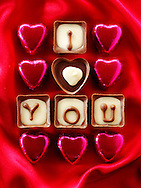 """"""" I love you """" chocolates stock photos for Valentines or any love message. The perfect """"I love you"""" stock image. Ready to cut out from Funky Stock Photos libr"""