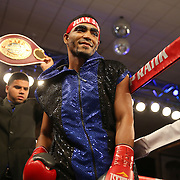 Gamalier Rodriguez is seen prior to his NABO Featherweight Title fight against challenger Orlando Cruz at the Bahia Shriners Center on Saturday, April 19, 2014 in Orlando, Florida.  (AP Photo/Alex Menendez)