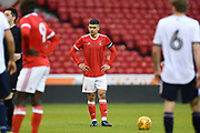Nottingham Forest U23's Toby Edser lines up a Forest free-kick during the U23 Professional Development League Play-Off Final match between Nottingham Forest and Bolton Wanderers at the City Ground, Nottingham, England on 4 May 2018. Picture by Jon Hobley.