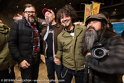 Giuseppe, Ola and Kross at the Saturday night Pre-Party for the Annual Mooneyes Yokohama Hot Rod and Custom Show. Japan. Saturday, December 6, 2014. Photograph ©2014 Michael Lichter.