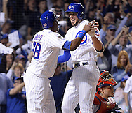 CHICAGO, IL - OCTOBER 12:  Kris Bryant #17 celebrates with Jorge Soler #68 of the Chicago Cubs after Bryant hit a home run in the fifth inning during Game 3 of the NLDS against the St. Louis Cardinals at Wrigley Field on Monday, October 12, 2015 in Chicago , Illinois. (Photo by Ron Vesely/MLB Photos via Getty Images) *** Local Caption *** Kris Bryant; Jorge Soler