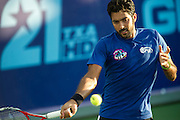 IRVING, TX - JULY 10:  Aisam-Ul-Haq Qureshi of the Texas Wild returns the ball during a mens double match against the Washington Kastles on July 10, 2013 at the Four Seasons Resort and Club in Irving, Texas.  (Photo by Cooper Neill/Getty Images) *** Local Caption *** Aisam-Ul-Haq Qureshi