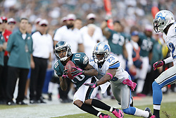 Philadelphia Eagles wide receiver DeSean Jackson (10) catches the ball with Detroit Lions cornerback Chris Houston (23) defending during the NFL game between the Detroit Lions and the Philadelphia Eagles on Sunday, October 14th 2012 in Philadelphia. The Lions won 26-23 in Overtime. (Photo by Brian Garfinkel)