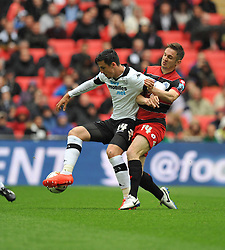 Derby County's George Thorne shields the ball from q14\  - Photo mandatory by-line: Alex James/JMP - Tel: Mobile: 07966 386802 24/04/2014 - SPORT - FOOTBALL - wembley - London -  Derby County V Queens Park Rangers - Play off final