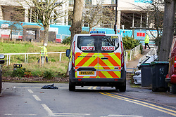 © Licensed to London News Pictures. 18/02/2021. London, UK. Police van at a crime scene on Jarrow Road in Tottenham, north London after a fatal stabbing of a man. Police were called to Jarrow Road, N17 at 7:21pm on Wednesday, 17 February after concerns were raised about an injured man who was unresponsive inside a vehicle. Officers attended with paramedics from the London Ambulance Service and the London Air Ambulance and found a man believed to be in his 30s with an injury consistent with having been stabbed. Despite efforts by emergency services he was sadly pronounced dead at the scene a short while later. Photo credit: Dinendra Haria/LNP