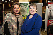 Dr Dilis Clare, RHS and  Norah Casey at the annual SCCUL Enterprise Awards prize giving ceremony and business expo which was hosted by NUI Galway in the Bailey Allen Hall, NUIG. Photo:Andrew Downes