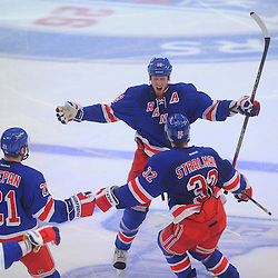 May 7, 2012: New York Rangers defenseman Marc Staal (18) celebrates his game-winning overtime goal in game 5 of the NHL Eastern Conference Semi-finals between the Washington Capitals and New York Rangers at Madison Square Garden in New York, N.Y.