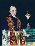 Pope Leo XIII (1810-1903 -  born Vincenzo Gioacchino Luigi Pecci) 256th Supreme Pontiff  1878-1903. Three-quarter length portrait facing front, one hand on table with crucifix. Religion Christian Roman Catholic Hand-coloured