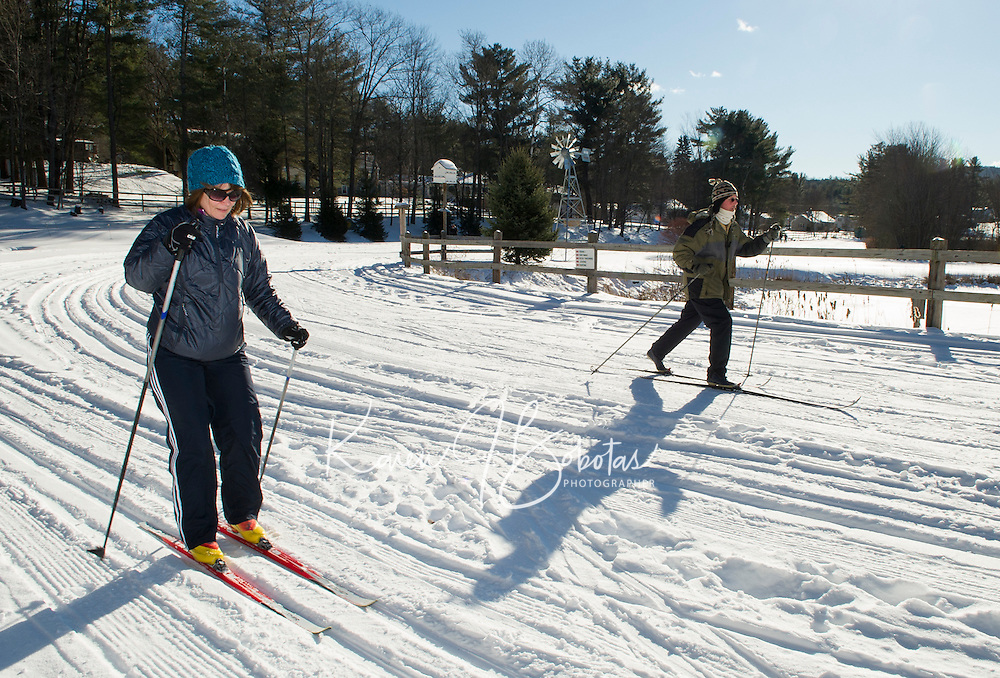 Deb Handrahan of Hooksett practices classic technique skills learned during the first of her four week lesson program at Bolduc Park on Saturday morning.  (Karen Bobotas/for the Laconia Daily Sun)