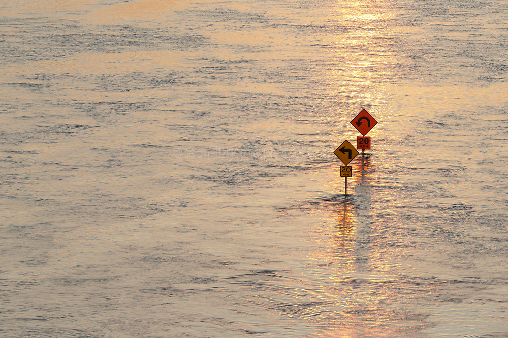 Street signs in flood of Trinity River, Dallas, Texas, USA