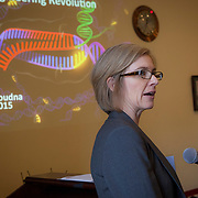 Jennifer Doudna, PhD, University of California, Berkely, speaks about CRISPR genome technology at The Personal Genetics Education Project (pgEd)  congressional briefing in Washington, D.C. on Tuesday, November 17, 2015.  Doudna pioneered the development and implementation of CRISPR genome technology.  For Harvard University