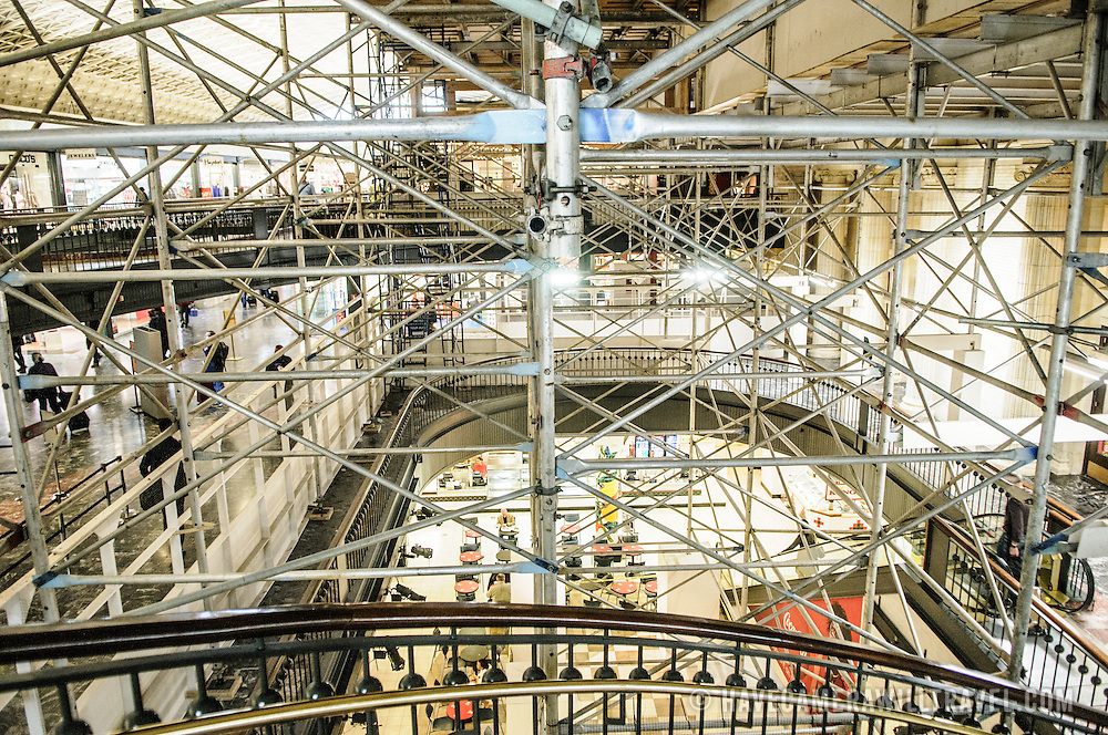 Scaffolding on the interior of Washington DC's Union Station to facilitate repair of the damage from the 5.8 earthquake in Virginia on August 23, 2011.