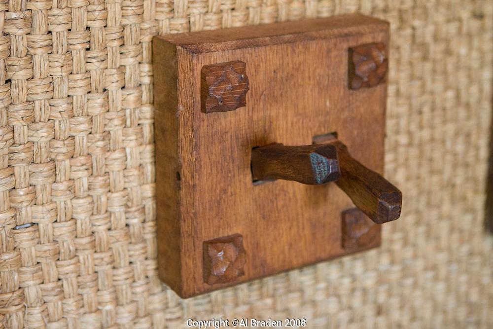 Details of Gillette Castle State Park shows imaginative wood carvings by Williwm Gillette.