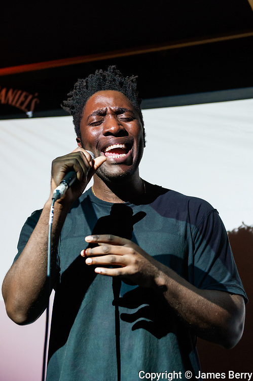 Kele Okereke (Bloc Party) performs live at The Macbeth, London, on his birthday, 13 October 2014, to celebrate the release of his solo record 'Trick'. The gig was part of a series of events called 'Jack Rocks' sponsored by Jack Daniels whiskey.