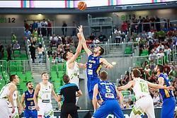 Gasper Vidmar of Slovenia and Fisnik Rugova of Kosovo during qualifying match between Slovenia and Kosovo for European basketball championship 2017,  Arena Stozice, Ljubljana on 31th August, Slovenia. Photo by Grega Valancic / Sportida