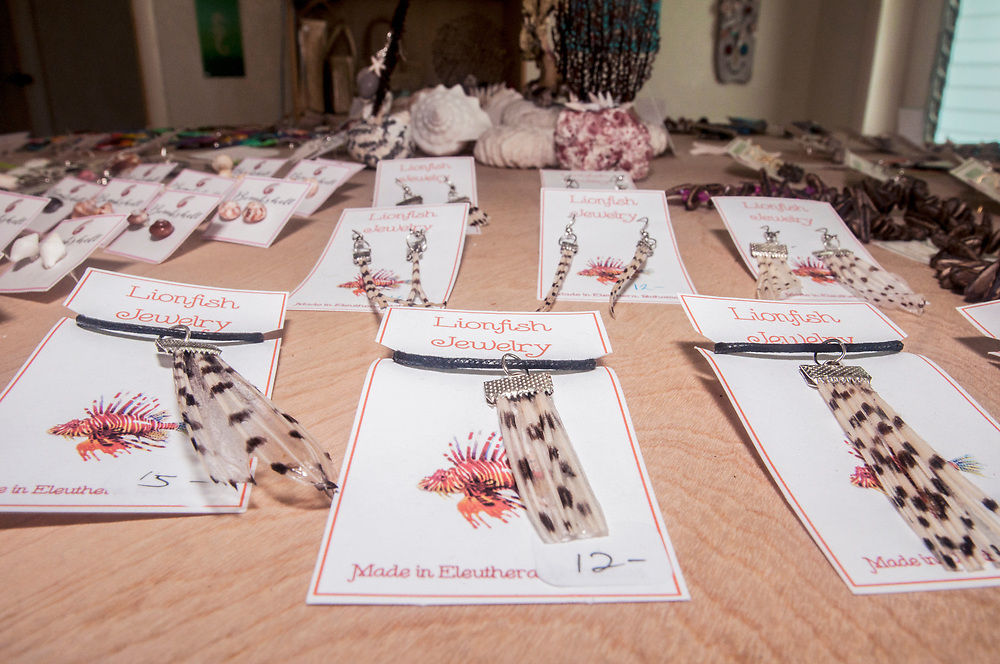 Jewelry made from the tails of invasive lionfish (Pterois volitans) increases the value. Image made on Eleuthera, Bahamas.