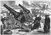 Franco-Prussian War 1870-1871: Prussian siege guns in front of Paris. Wood engraving, 11 February 1871