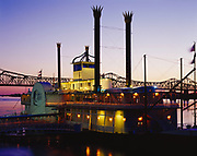 Isle of Capri Casino on the Mississippi River with the Mississippi River Bridge beyond, Natchez Mississippi.