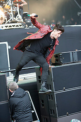 Danny O'Donoghue of The Script on the main stage. Saturday, 11th July 2015, day two at T in the Park 2015, at its new home at Strathallan Castle.