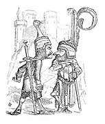 (Two knights in armour nose to nose.)