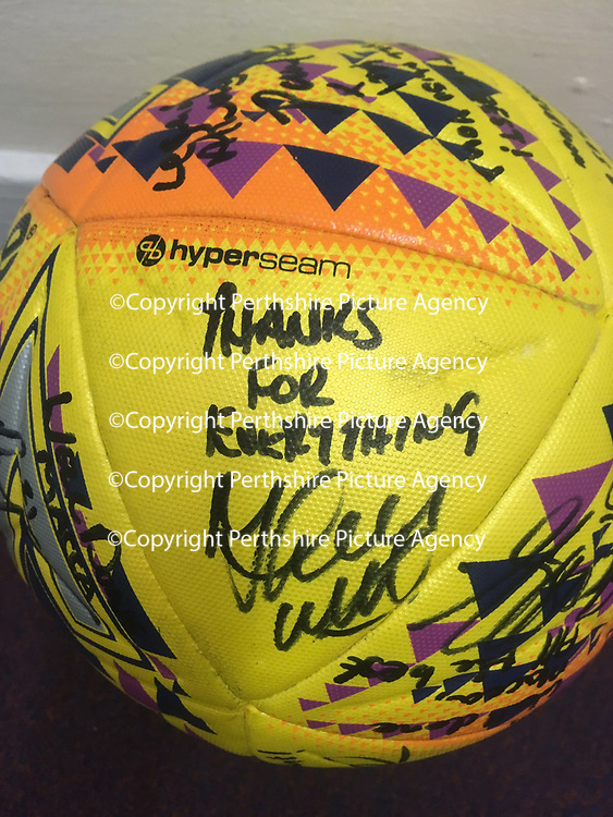 Motherwell v St Johnstone…05.05.18…  Fir Park    SPFL<br />Steven MacLean's hat trick ball signed by mananger Tommy Wright and the rest of players after his final matc f for saints<br />Picture by Graeme Hart. <br />Copyright Perthshire Picture Agency<br />Tel: 01738 623350  Mobile: 07990 594431