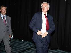 "© Licensed to London News Pictures . 22/09/2018. Bolton, UK. NIGEL FARAGE and DAVID DAVIS . Pro Brexit campaign group Leave Means Leave host a "" Save Brexit "" and "" Chuck Chequers "" rally at the University of Bolton Stadium , attended by leave-supporting politicians from a cross section of parties , including Conservative David Davis , former UKIP leader Nigel Farage and Labour's Kate Hoey . Photo credit: Joel Goodman/LNP"