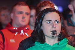 June 24, 2017 - Auckland, New Zealand - An All Blacks fans watch the match from big screen at waterfront fanzone during the first test match between the New Zealand All Blacks  and the British and Irish Lions at Eden Park, Auckland, New Zealand. The British and Irish Lions are a composite team selected from players representing the national teams of England, Ireland, Scotland or Wales, They play against New Zealand every 12 years. The lions lost to New Zealand 30-15. (Credit Image: © Shirley Kwok/Pacific Press via ZUMA Wire)