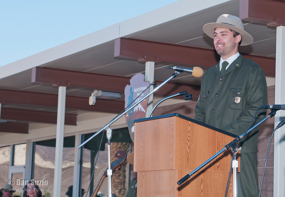 Park ranger Patrick Taylor, wearing a uniform from the 1930s, presents a historical view of Death Valley at the Grand Re-Opening of the Furnace Creek Visitor Center in Death Valley National Park, California, on November 4, 2012.