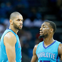 01 November 2015: Charlotte Hornets forward Nicolas Batum (5) is seen next Charlotte Hornets guard Kemba Walker (15) during the Atlanta Hawks 94-92 victory over the Charlotte Hornets, at the Time Warner Cable Arena, in Charlotte, North Carolina, USA.