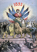Allegory of Universal (male) Suffrage.  Enacted in 1793 French Constitution, lost with Directoire, not fully introduced until 1914. Universal male and female Suffrage, 1944. From 'Le Petit Journal', Paris, 1893. Democracy, Vote
