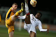 Pelly Ruddock Mpanzu of Luton Town ® is challenged by Scot Bennett of Newport county (l). .EFL Skybet football league two match, Newport county v Luton Town at Rodney Parade in Newport, South Wales on Tuesday 21st March 2017.<br /> pic by Andrew Orchard,  Andrew Orchard sports photography.