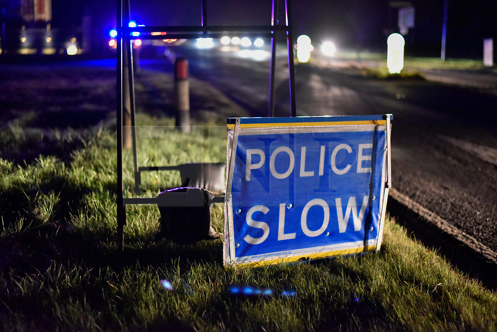 © Licensed to London News Pictures. 17/11/2017. Waddesdon, UK.  Police cordon off the entrance to Waddesdon Manor. Emergency services are attending the a scene of a mid-air collision between an aircraft and a helicopter near the village of Waddesdon in Buckinghamshire. The crash site is reported to be on the Waddesdon Manor estate. Both aircraft are believed to have taken off from Wycombe Air Park, also known as Booker Airfield.   Photo credit: Stephen Chung/LNP