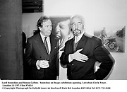 Lord Snowdon and Simon Callow.  Snowdon on Stage exhibition opening. Lyttelton Circle Foyer. London.13/1/97. Film 974f18<br />