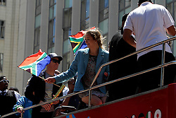 Monday 17th October 2016.<br /> Grand Parade & Greenpoint Athletics Stadium, Cape Town,<br /> Western Cape, South Africa.<br /> <br /> Cape Town Honours South African Olympic And Paralympic Heroes<br /> <br /> Paralympic and Olympic heroes enjoy themselves while on the bus through Cape Town to Greenpoint Athletics Stadium.<br /> <br /> Cape Town honours the South African Olympic and Paralympic heroes during a special celebratory event held in Cape Town, Western Cape, South Africa on Monday 17 October 2016.<br /> <br /> Picture By: Mark Wessels / Real Time Images.