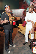 October 27, 2012-New York, NY: Recording Artists BlackStar- (L-R) Talib Kweli and Mos Def aka Yasiin Bey backstage at House of Blues on October 27, 2012 in Atlantic City, New Jersey. Black Star arose from the underground movement of the late 1990s, which was in large part due to Rawkus Records, an independent record label stationed in New York City. They released one album, Mos Def & Talib Kweli Are Black Star on August 26, 1998. (Terrence Jennings)