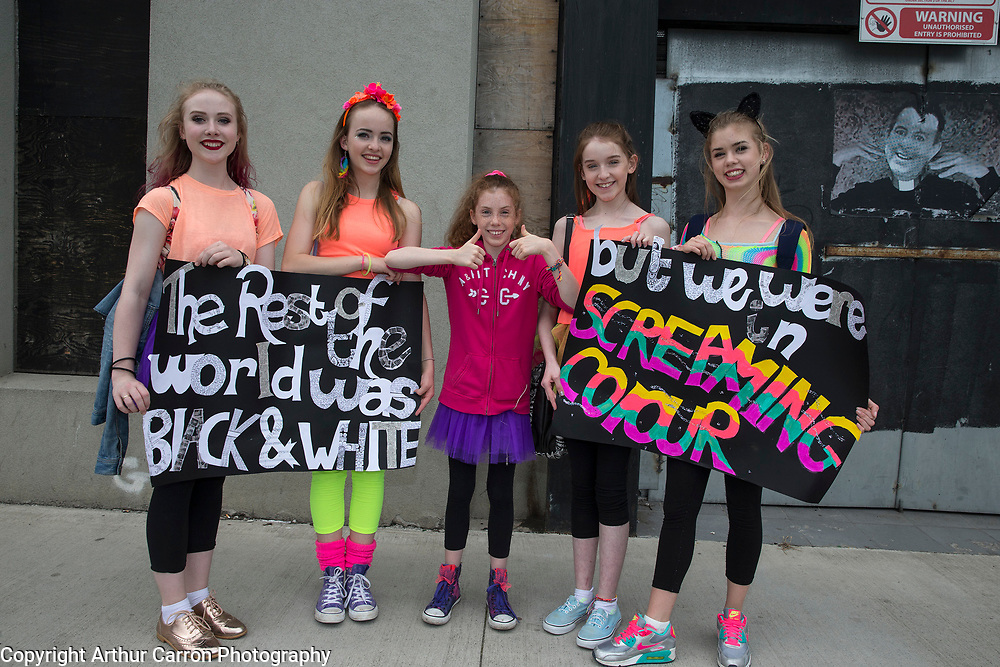 29/6/15 Taylor Swift fans Laurarose Cashin Hardiman, Liadh Robertson, Aoife Ni Chiobhain, Michelle Gormley and Sadhbh Ni Chiobhain on the way to the concert in the 3 Arena in Dublin. Picture: Arthur Carron