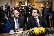 Martin Schulz and Jose Manuel Barrosa at the Norwegian Parliament.