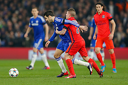 Cesc Fabregas of Chelsea is challenged by Marco Verratti of Paris Saint-Germain - Photo mandatory by-line: Rogan Thomson/JMP - 07966 386802 - 11/03/2015 - SPORT - FOOTBALL - London, England - Stamford Bridge - Chelsea v Paris Saint-Germain - UEFA Champions League Round of 16 Second Leg.