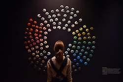 """© Licensed to London News Pictures. 27/06/2017. London, UK. """"Colour Wheel"""". Preview of """"Breathing Colour"""", an exhibition by acclaimed designer Hella Jongerius, at the Design Museum, Kensington which comprises a series of newly commissioned installations exploring humans perceptions and connections to colour.  The exhibition runs from 28 June to 24 September 2017.  Photo credit : Stephen Chung/LNP"""